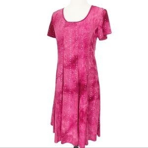 Sami & Jo Pink Tie Dye Sequins Embroidered Dress